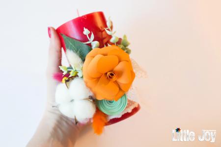 Lumânare flori hârtie decor3