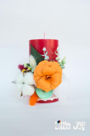 Lumânare flori hârtie decor0