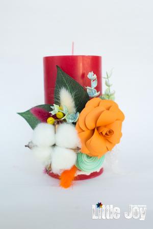 Lumânare flori hârtie decor2