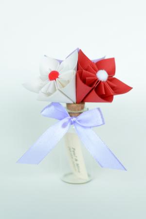Mărturie - Sticluță flori hârtie3