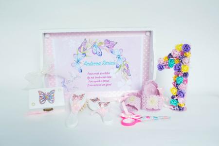 Set 1 An personalizat - Săndăluțe croșetate roz1