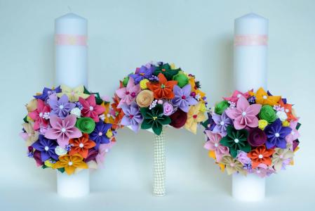 Set lumânări cununie Multicolor3