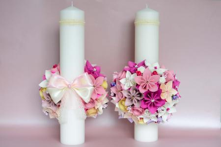 Set lumânări cununie Roz-Siclam1