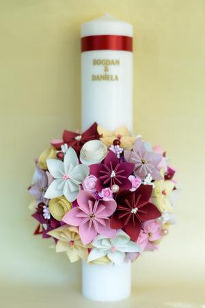 Set lumânări cununie personalizate Roz-Crem0
