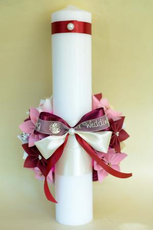 Set lumânări cununie personalizate Roz-Crem1