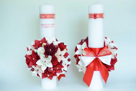 Set lumânări cununie personalizate Roșu-Vișiniu0