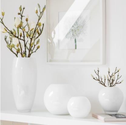 Vaza AFRICA, alb, sticla, 21x40 cm, Fink 0