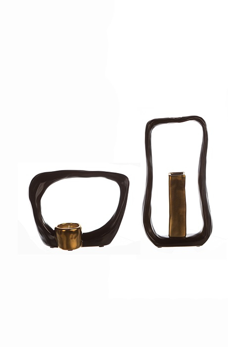 Set Vaza cu Suport lumanare KADOMA, ceramica, negru, 31/14.5 cm 0