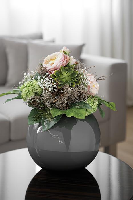 Set vaza cu buchet flori MOON, sticla/matase, 34/21 cm 0