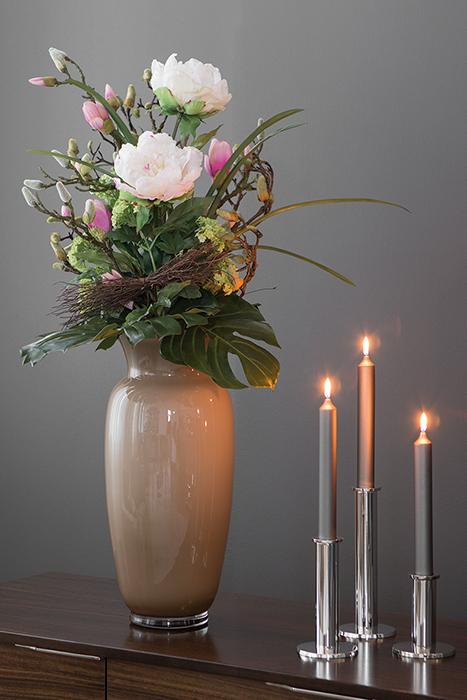 Vaza HERA, sticla, bej/gri, 40x18.5 cm 1