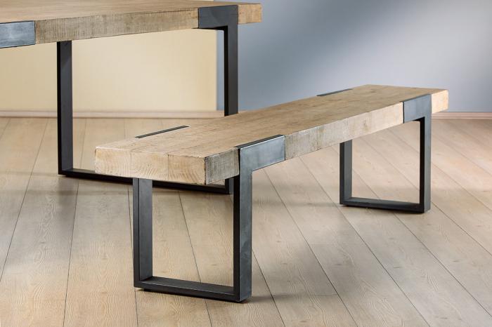 Bancuta TURIN, metal/lemn, 200x34x45 cm 0
