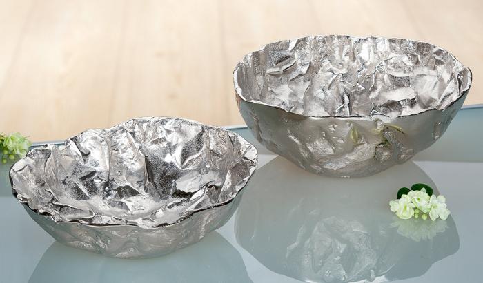 Bol decorativ Arrugada, aluminiu, argintiu, 15x36 cm 2021 lotusland.ro