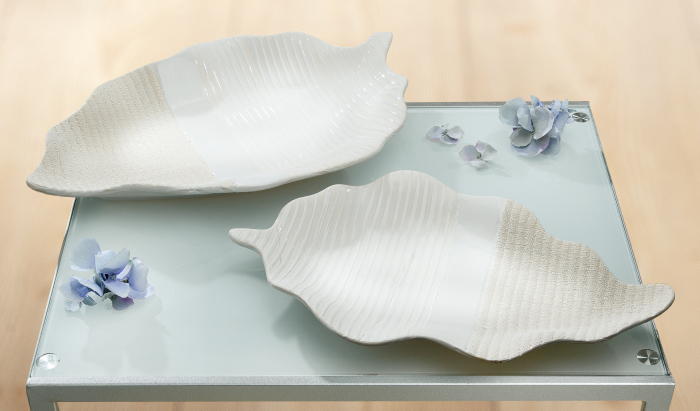 Bol decorativ Costiera, ceramica, crem bej, 36x5x22 cm imagine 2021 lotusland.ro
