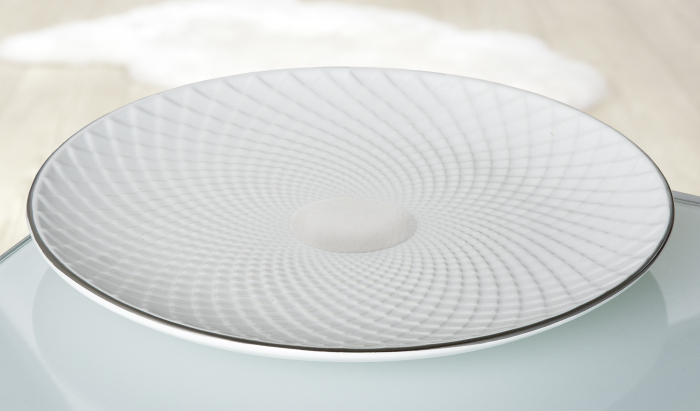Bol decorativ Lille, ceramica, alb argintiu, 30x3x30 cm imagine 2021 lotusland.ro