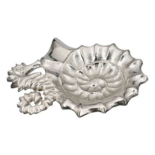Bol decorativ seahorse, aluminiu, argintiu, 15x17.5x2 cm lotusland.ro