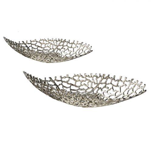 Bol decorativ Twirl, aluminiu, argintiu, 25x62x12.5 cm 2021 lotusland.ro