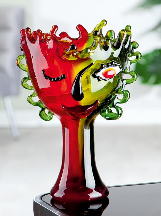 Bol decorativ Visual, sticla, multicolor, 20.5x30x19 cm lotusland.ro