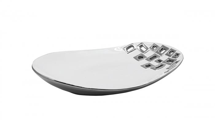 Bol Torino , ceramica, argintiu alb, 32x23x6 cm imagine 2021 lotusland.ro