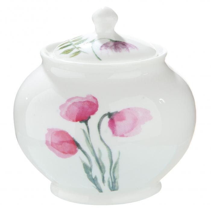 Bol zahar cu capac Sweet Blossom, portelan, multicolor, 9.5x9 cm imagine 2021 lotusland.ro