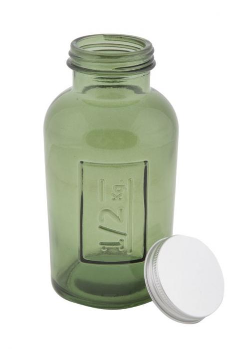Borcan cu capac  sticla reciclata GREEN (cm) Ø 8,5X16,5 2