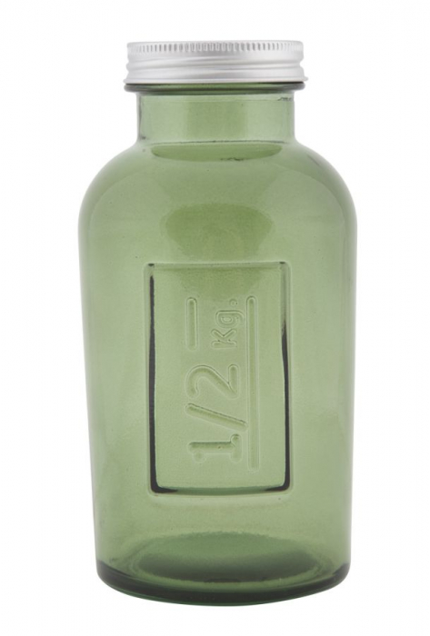 Borcan cu capac  sticla reciclata GREEN (cm) Ø 8,5X16,5 1