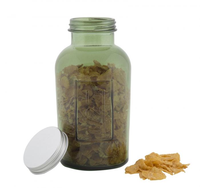 Borcan cu capac  sticla reciclata GREEN (cm) Ø 8,5X16,5 5