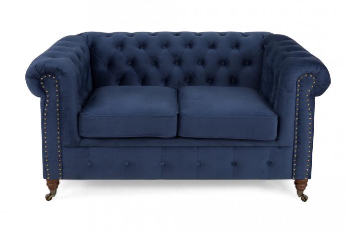 Canapea Chesterfield, 2 locuri, Albastru, 150x80x86 cm 1