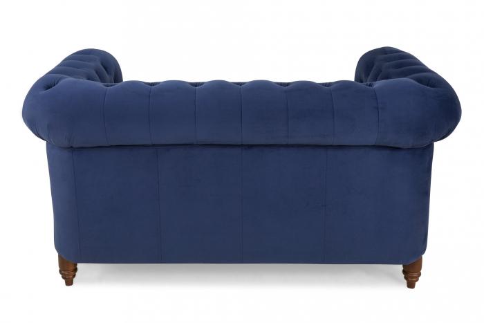Canapea Chesterfield, 2 locuri, Albastru, 150x80x86 cm 2