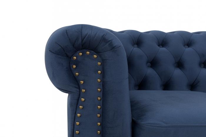 Canapea Chesterfield, 2 locuri, Albastru, 150x80x86 cm 4