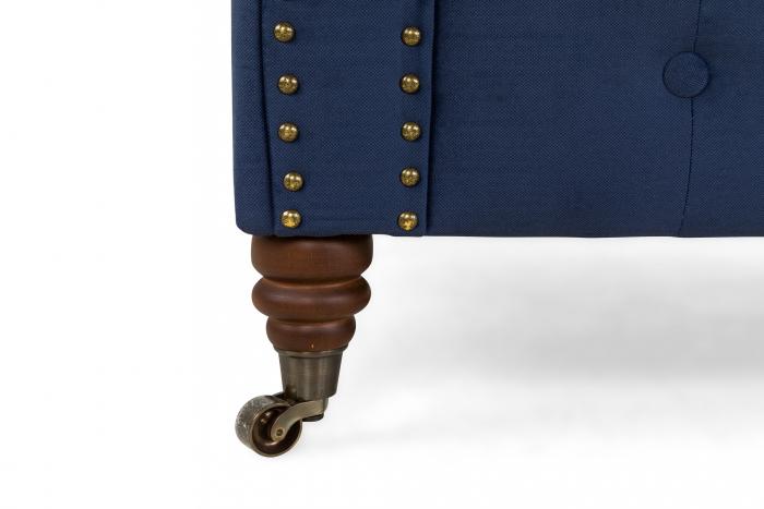 Canapea Chesterfield, 2 locuri, Albastru, 150x80x86 cm 9