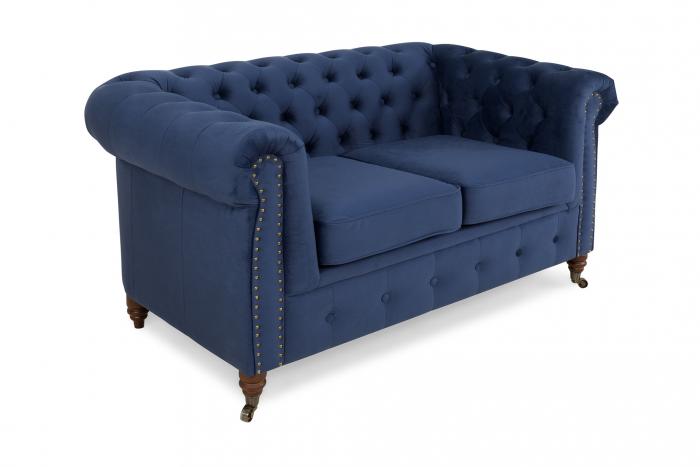 Canapea Chesterfield, 2 locuri, Albastru, 150x80x86 cm 0