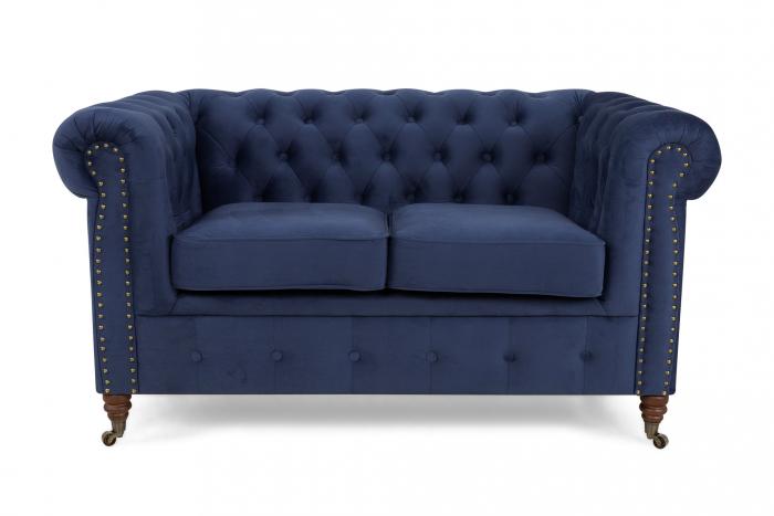 Canapea Chesterfield, 2 locuri, Albastru, 150x80x86 cm 3