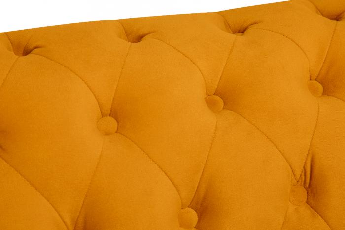 Canapea Chesterfield, 2 locuri, Galben, 150x80x86 cm 6