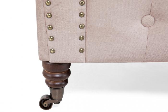 Canapea Chesterfield, 2 locuri, Roz, 150x80x86 cm 5