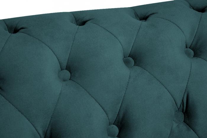 Canapea Chesterfield, 2 locuri, Turcoaz, 150x80x86 cm 6