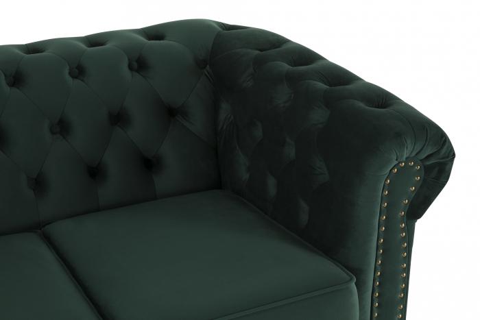 Canapea Chesterfield, 2 locuri, Verde, 150x80x86 cm 4