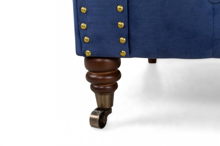 Canapea Chesterfield, 3 locuri, Albastru, 203x80x86 cm 9