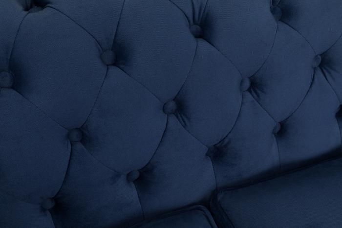 Canapea Chesterfield, 3 locuri, Albastru, 203x80x86 cm 7