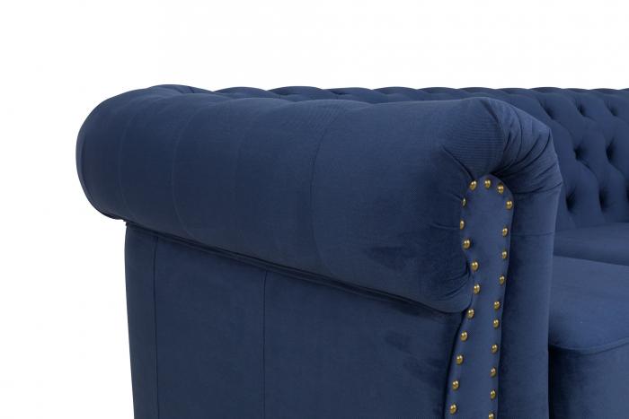 Canapea Chesterfield, 3 locuri, Albastru, 203x80x86 cm 5