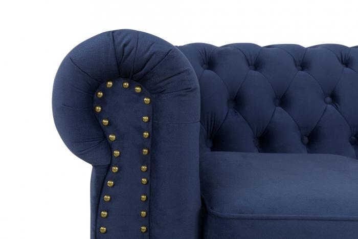 Canapea Chesterfield, 3 locuri, Albastru, 203x80x86 cm 4