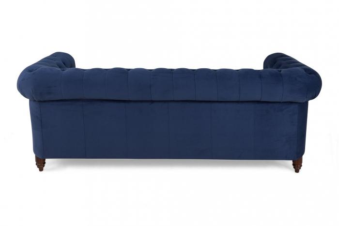 Canapea Chesterfield, 3 locuri, Albastru, 203x80x86 cm 2