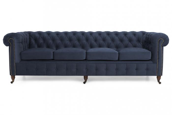 Canapea Chesterfield, 4  locuri, Albastru, 238x80x86 cm 3