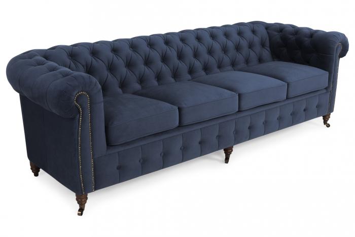 Canapea Chesterfield, 4  locuri, Albastru, 238x80x86 cm 0