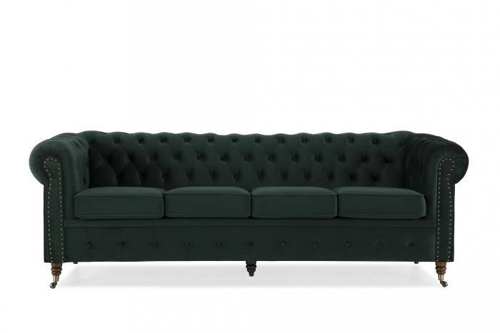Canapea Chesterfield, 4  locuri, Verde, 238x80x86 cm 1