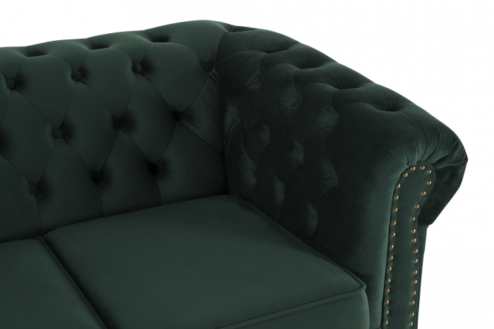 Canapea Chesterfield, 4  locuri, Verde, 238x80x86 cm 4