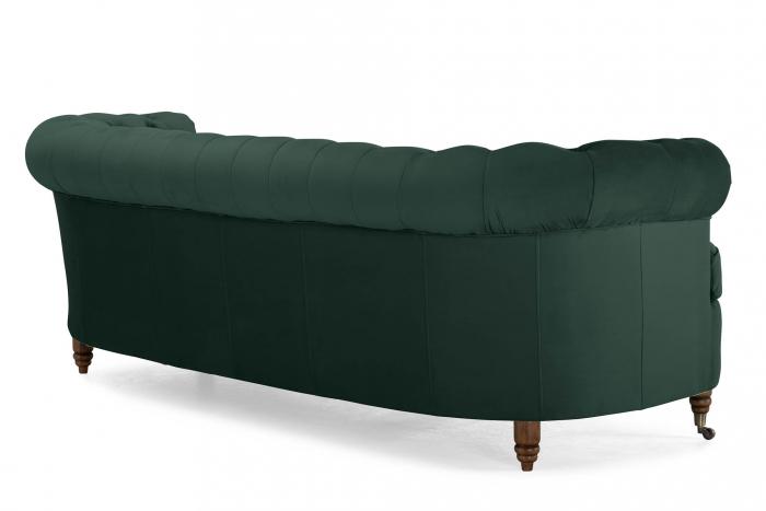 Canapea Chesterfield, Curbata, Verde, 230x80x86 cm 3