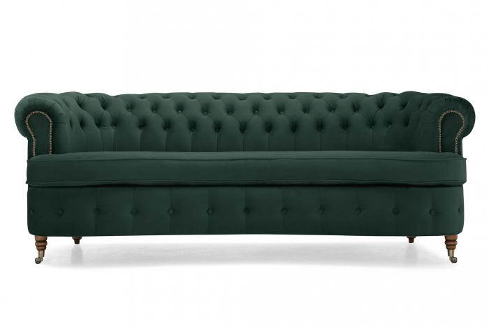 Canapea Chesterfield, Curbata, Verde, 230x80x86 cm 1