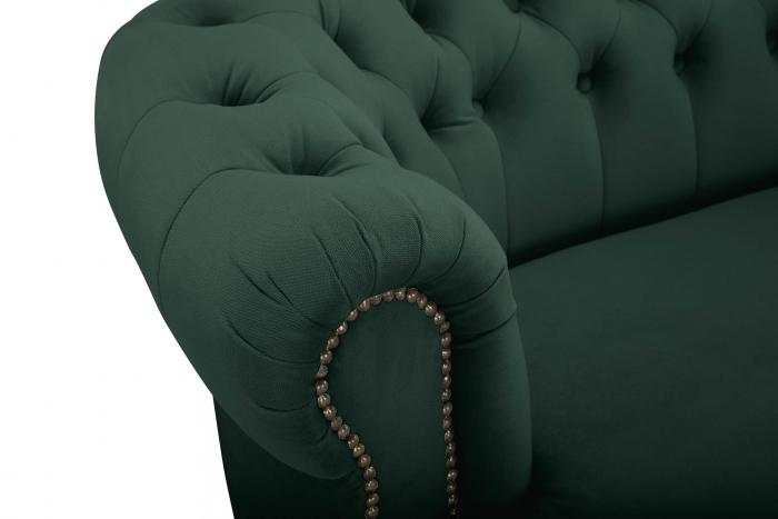 Canapea Chesterfield, Curbata, Verde, 230x80x86 cm 4