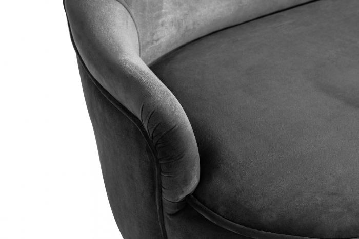 Canapea Diana 3H, Gri inchis, 140x86x67 cm 5