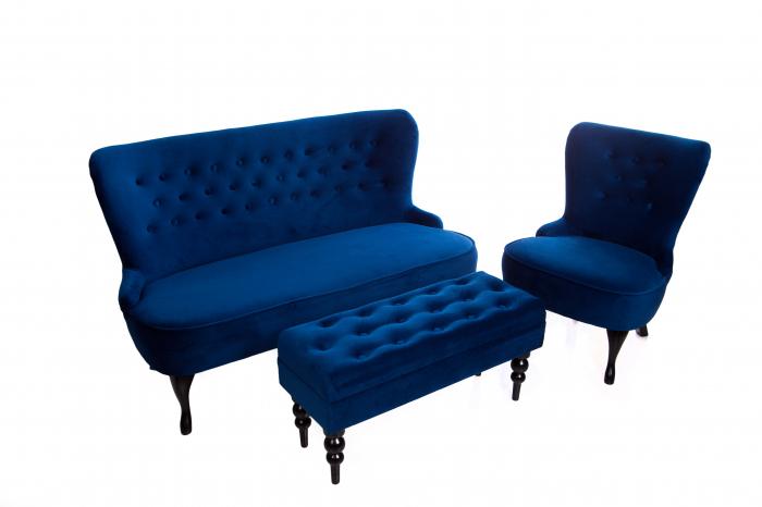Canapea Diana 3L, Albastru, 140xx86x67 cm 3